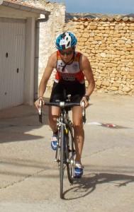 Yolanda en el segmento de ciclismo